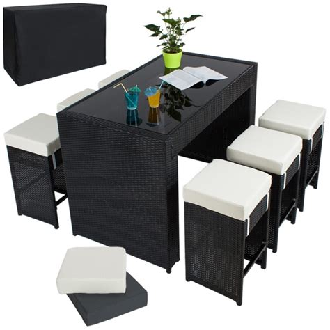 salon de jardin bar table haute salon de jardin rotin r 233 sine tress 233 synth 233 tique 6 tabourets rotin noir helloshop26