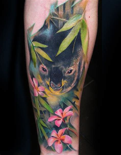 koala tattoo designs flowers and koala on arm tattooshunt