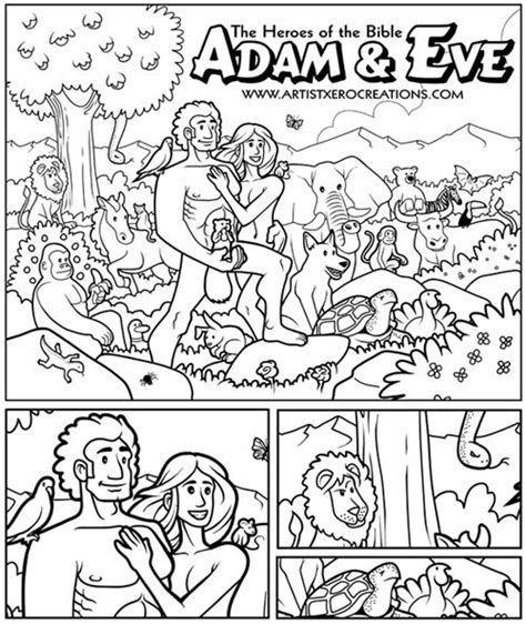 adam eve coloring page  squirrels position