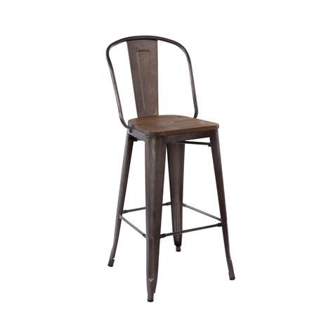 High Back Bar Stool Antique Industrial Tolix High Back Bar Stool Wood Seat Tablebasedepot