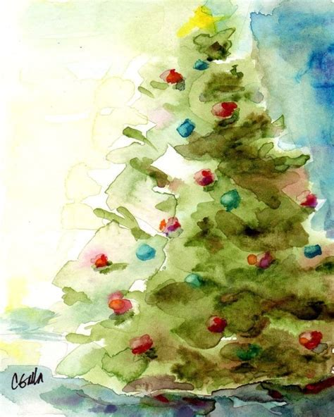 watercolor christmas tree stuff i like pinterest