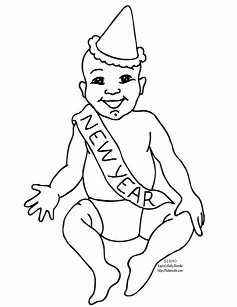new year baby coloring page happy new year