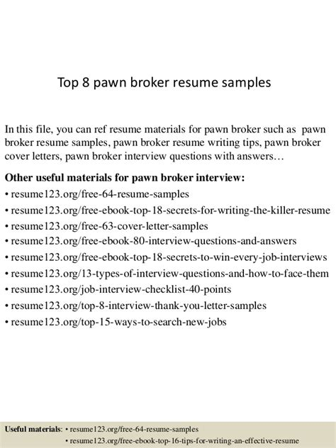 top pawn top 8 pawn broker resume sles