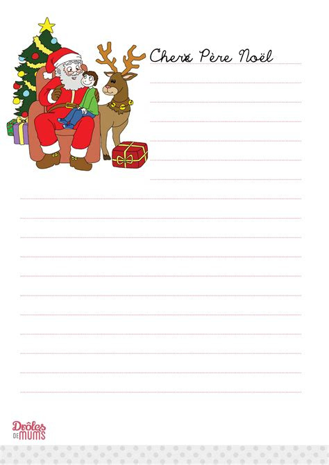 Exemple Lettre Pere Noel Imprimer La Lettre Au P 232 Re No 235 L 224 Imprimer Version Fille Dr 244 Les De Mums