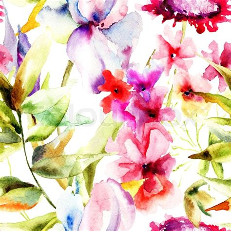 watercolor pattern flower seamless pattern with beautiful flowers watercolor