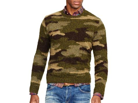 camo knit sweater lyst ralph polo camo crewneck sweater in green