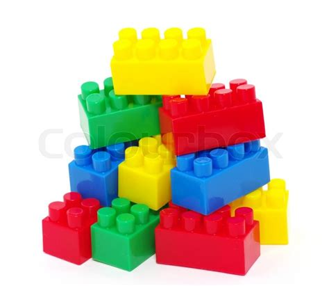 New Home Building Plans by Plastic Toy Blocks Stock Photo Colourbox