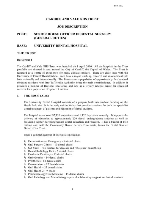 Post Senior House Officer In Dental Surgery General Duties Clearance For Dental Treatment Template