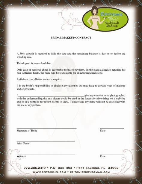 Wedding Hair And Makeup Contract Template by Makeup Artist Contract Template Mua
