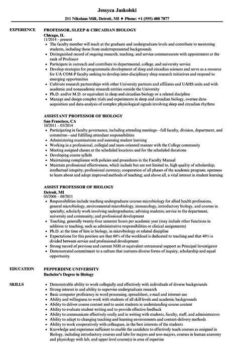 Professor Resume by Biology Professor Resume Sles Velvet