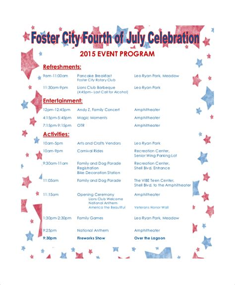 celebration of program template sle event program template 38 free documents in pdf