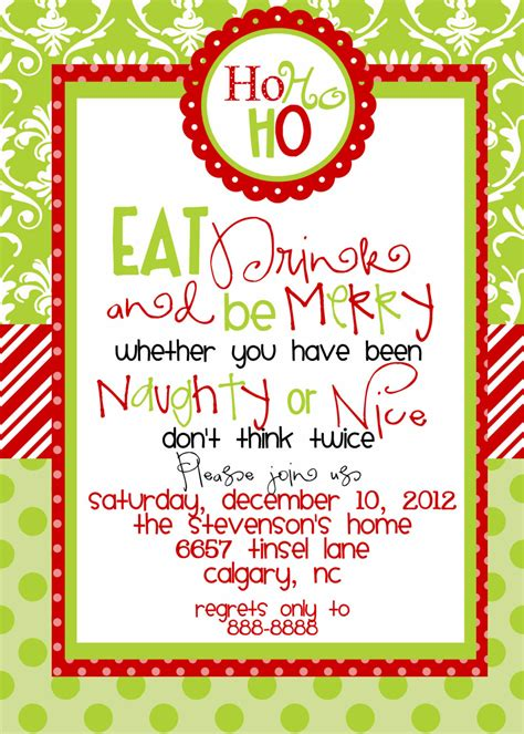 custom designed christmas party invitations eat drink and