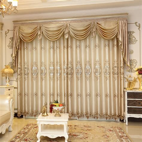 2016 weekend european luxury blackout curtains for living room chagne floral jacquard window
