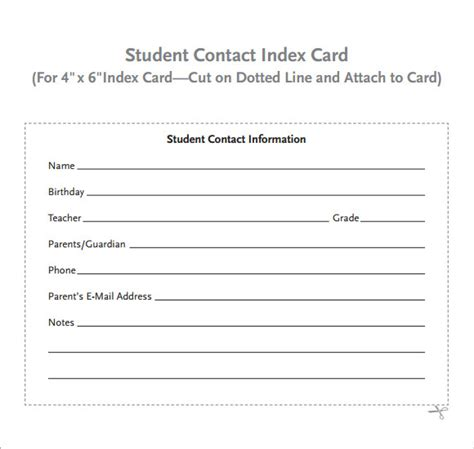 free contact card template 9 index card templates for free sle templates