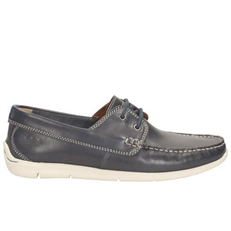 clarks boat shoes clarks mens karlock step navy leather boat shoes