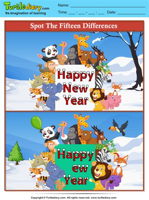 spot  differences animals  year worksheet turtle diary