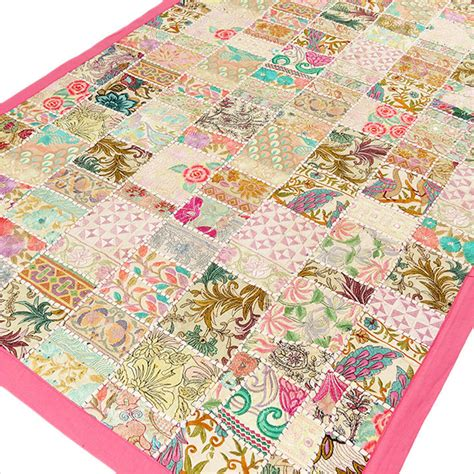Patchwork Tapestry - pink embroidered patchwork tapestry wall hanging 40 x 60