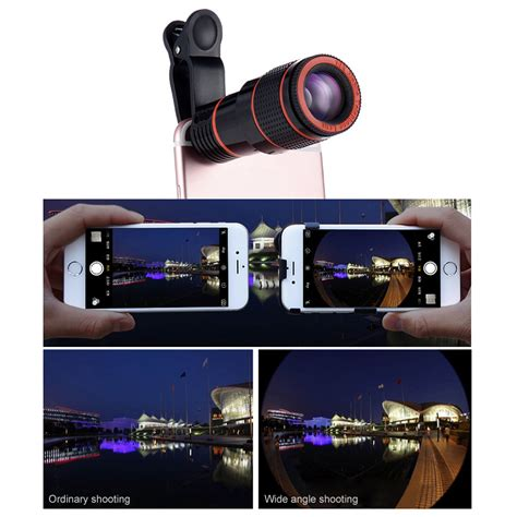 universal clip on 12x optical zoom hd telescope lens for iphone x 8 plus oneplus 5 tablet