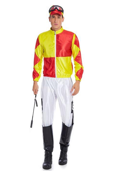 yellow orange jockey horse racing rider mens uniform fancy
