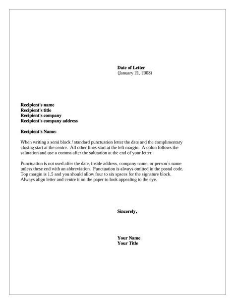 Business Letter Format Quizzes 35 formal business letter format templates exles
