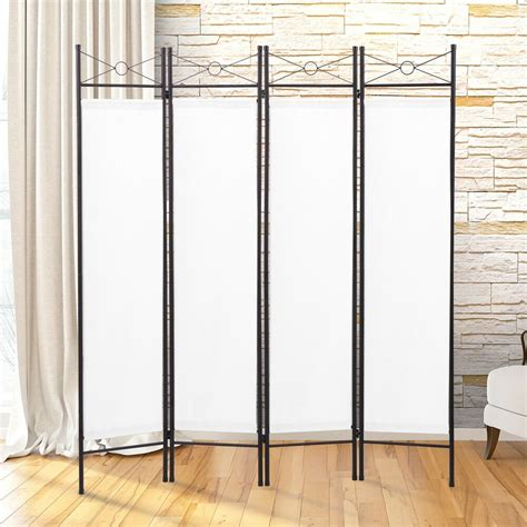 Room Seperator by 4 Panel Screen Room Divider Fabric Metal Frame Folding