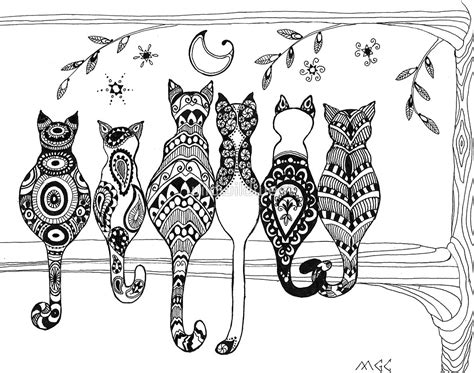 cat zentangle coloring page pop art zentangle cats lovers moon by wildwildwest