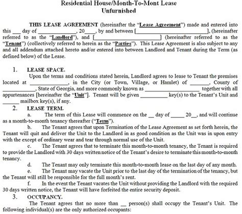 georgia residential tenancy lease agreement georgia rental