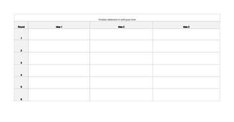 template for a 5 x 7 1 sheet note card 6 3 5 method brainwriting template sheets