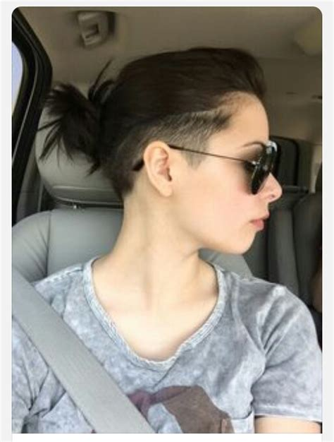 shaved hairstyle with bun shaved sides with a messy bun short hair pinterest