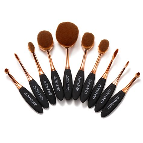 Brush Gold Set 8 Set 10 black and gold oval brush set my make up brush set us