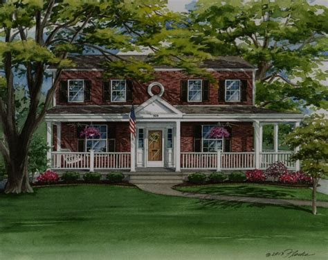 colonial farmhouse with wrap around porch custom house portrait of colonial style brick home in