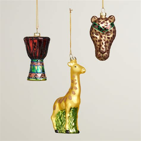 glass africa boxed ornaments set of 3 world market