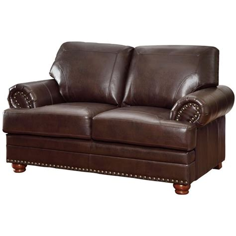 loveseat leather sofa coaster colton 504412 brown leather loveseat steal a