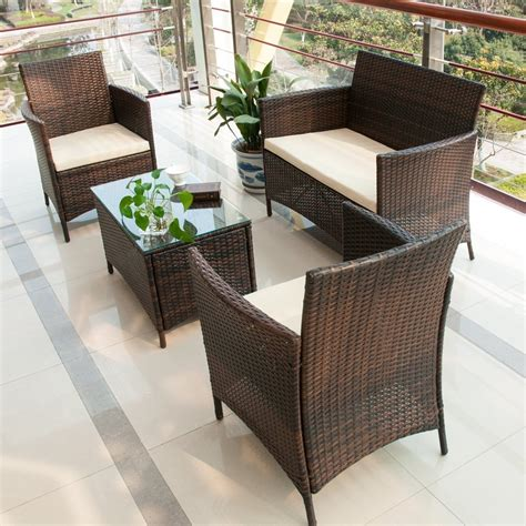 ratan patio furniture merax 4 pcs patio rattan furniture set cushioned outdoor garden wicker rattan furniture with