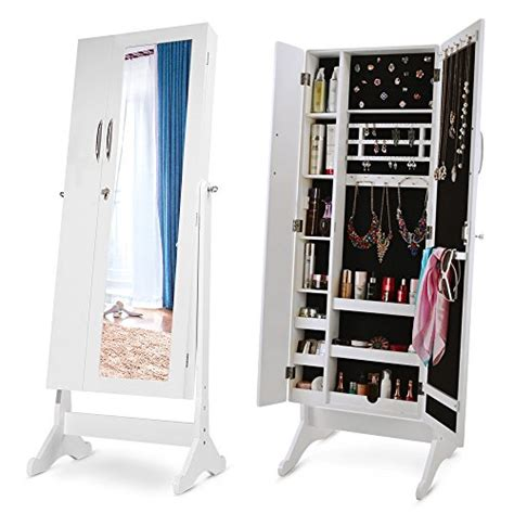 large standing jewelry armoire white lockable large wide floor standing mirror jewelry