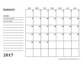 template for monthly calendar 2017 monthly calendar template with notes free printable