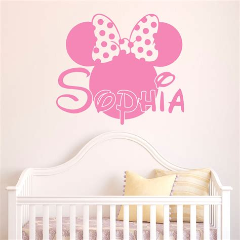 personalized wall stickers name wall decal minnie mouse wall decals personalized