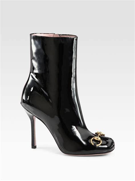 Patent Leather by Lyst Gucci Horsebit Patent Leather Ankle Boots In Black