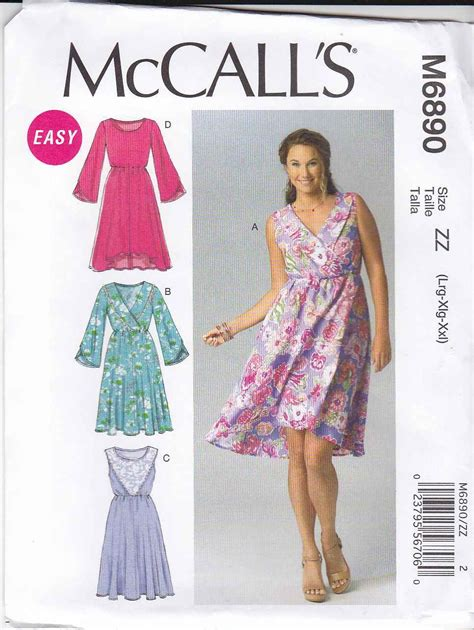 new look 6890 misses easy 2 hour pullover dress or mini mccalls sewing pattern 6890 misses size 16 26 easy