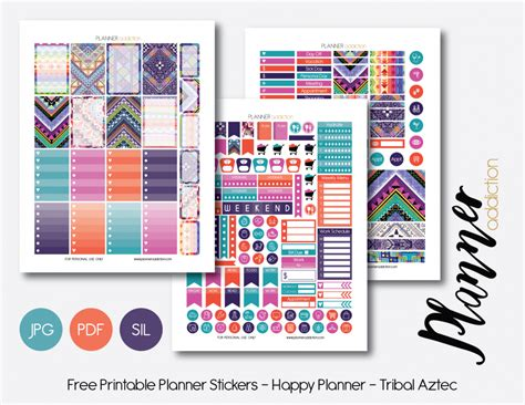 happy planner free printable stickers weekly set tribal aztec planner addiction