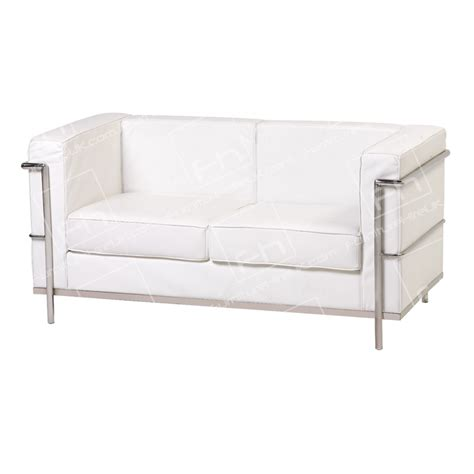 white leather 2 seater sofa two seater corbusier hire white sofa hire uk
