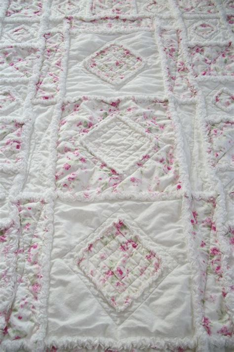 shabby chic soft rose applique baby rag quilt quilt