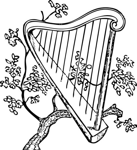 harps drawings coloring pages