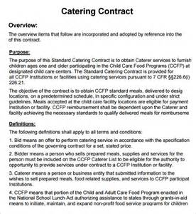 Wedding Catering Contract Sle by Catering Contract 7 Free Pdf