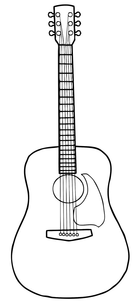 printable guitar images guitar outline clipart clipart suggest
