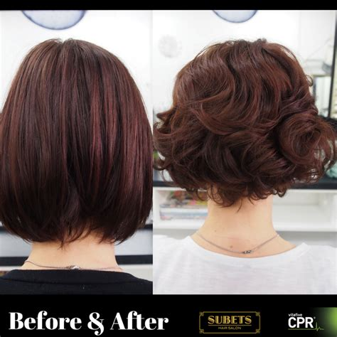 wavy long bob before and after pic before and after perm done by chantelle using cpr no rinse
