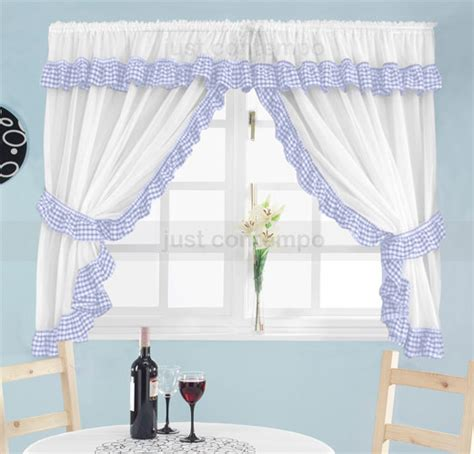 blue white gingham check frill kitchen curtains set ebay