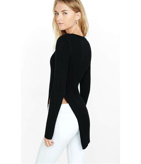 v neck slit side sweater lyst express ribbed v neck high slit tunic sweater