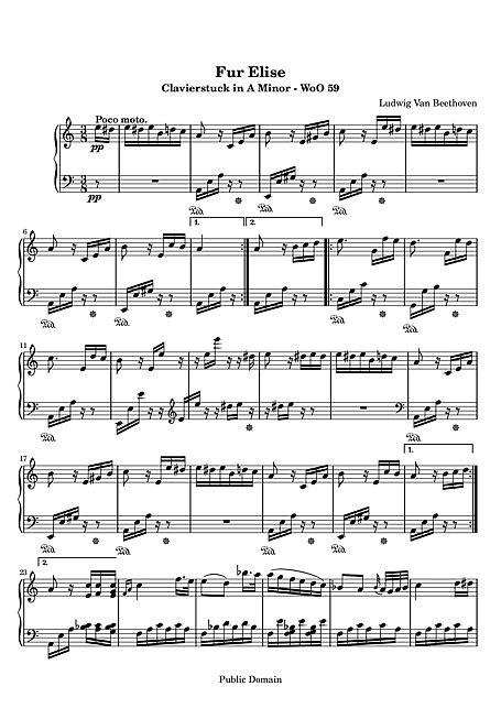 엘리제를 위하여 (Für Elise) Original version - 피아노 - 악보 - 칸톨이온, 무료악보