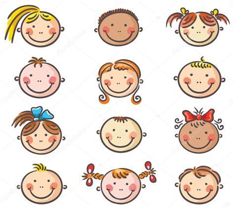 caritas de ninos animados feliz de dibujos animados para ni 241 os caras vector de